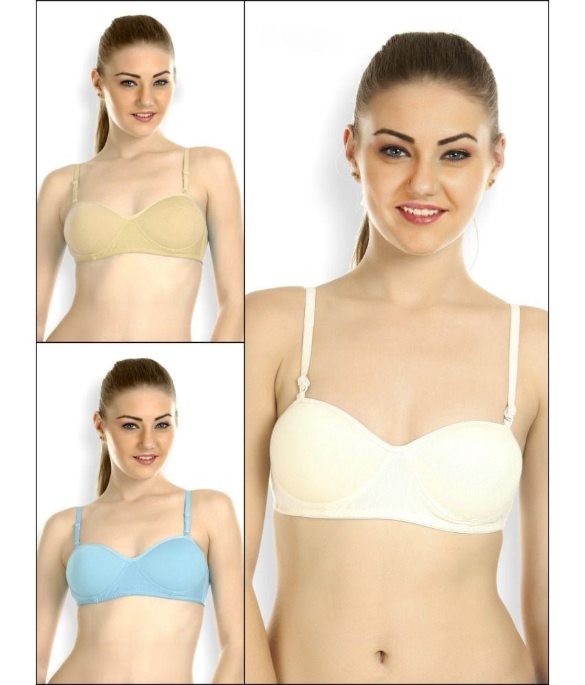 Tweens Multi Color Cotton Padded Bra Pack of 3