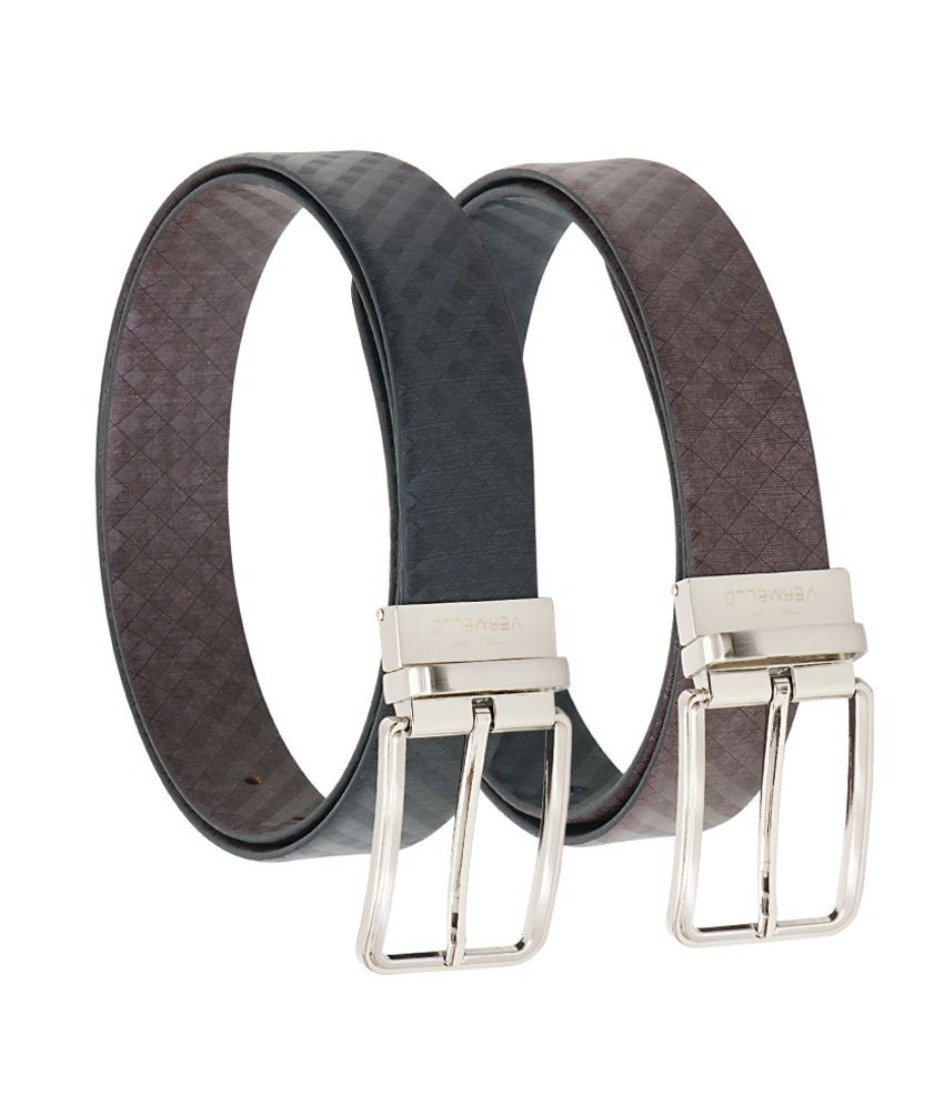 Vermello Black Brown Reversible Leather Belt