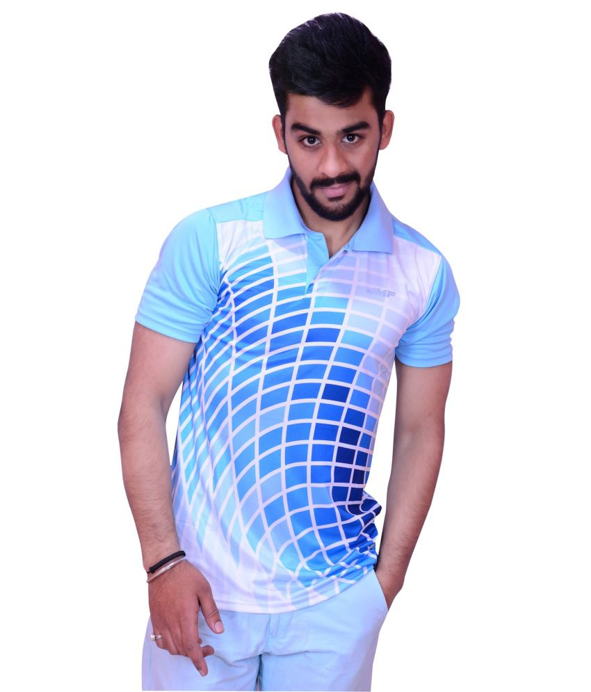 Inez White Blue Slim Fit Sports Gym Wear T-shirt