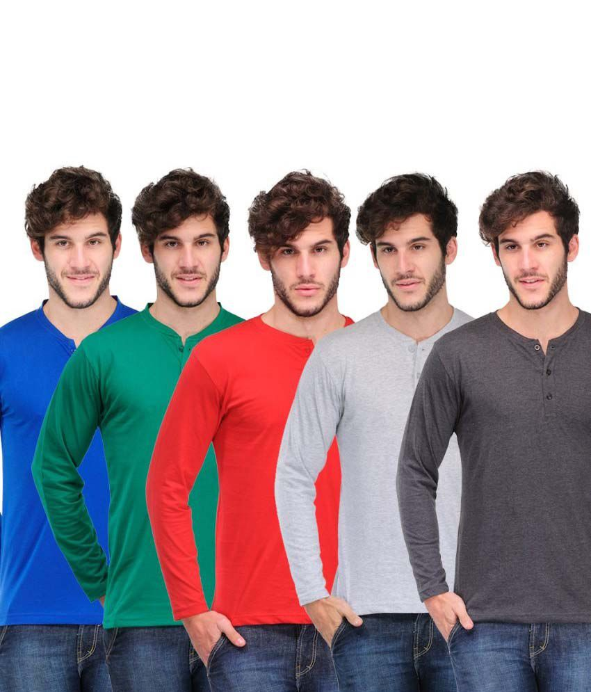 TSX Pack of 5 Henley T-Shirts