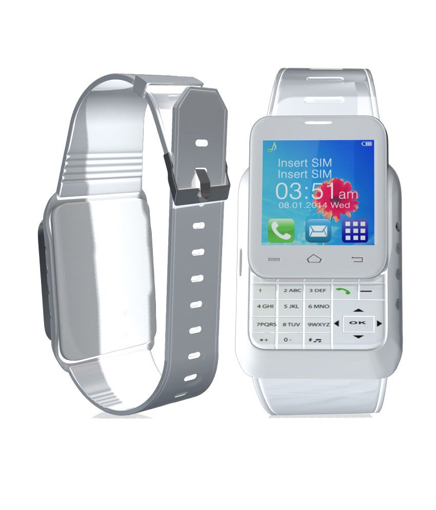 a74abb654 ... Anand India Smart wrist mobile with keypad White Smartwatch (Free  Bluetooth Headset) ...