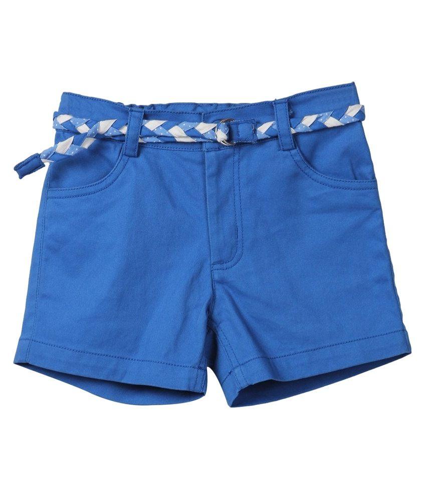Beebay Blue Solids Cotton Shorts