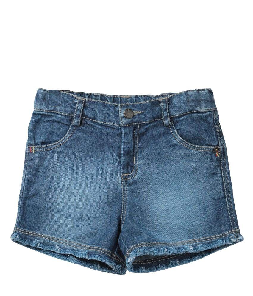 Beebay Cotton Solids Blue Shorts