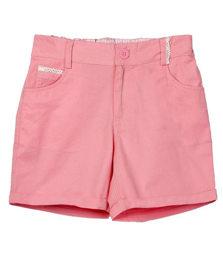 Beebay Pink Cotton Solids Shorts