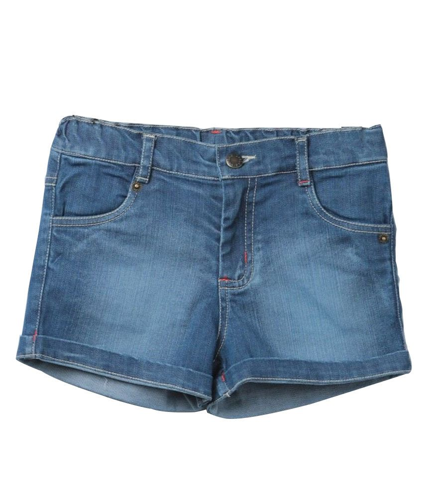 Beebay Trendy Cotton Solids Blue Shorts
