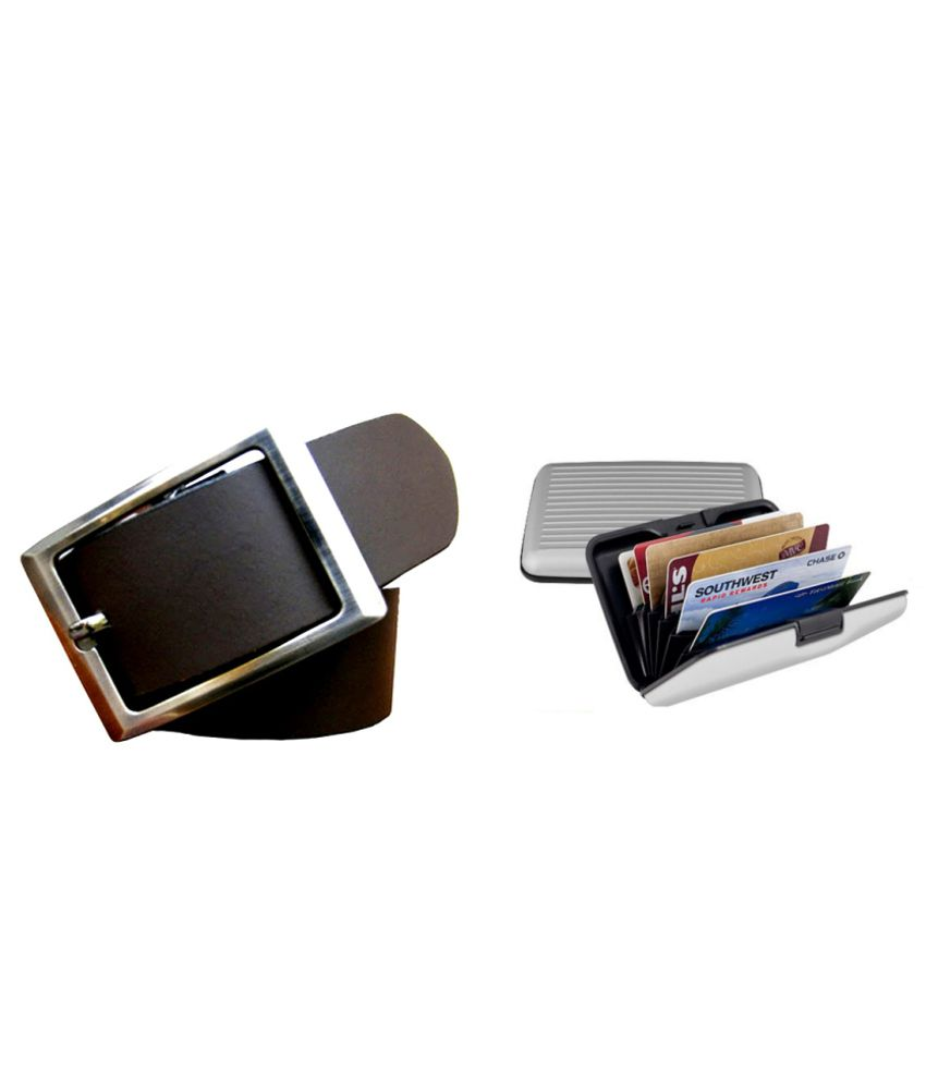 Best Brown Belt And Silver Card Holder Combo
