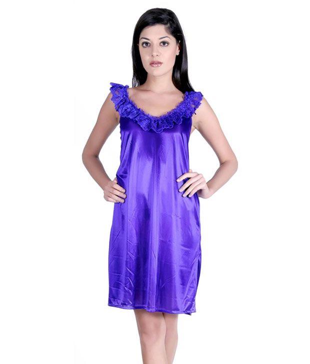 Claura Blue Satin Baby Doll Dresses