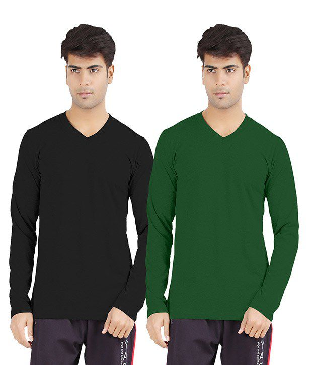 Softwear Black Cotton V-Neck Shirt