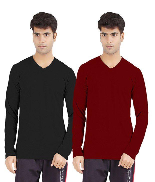 Softwear Black Cotton V-Neck Shirt