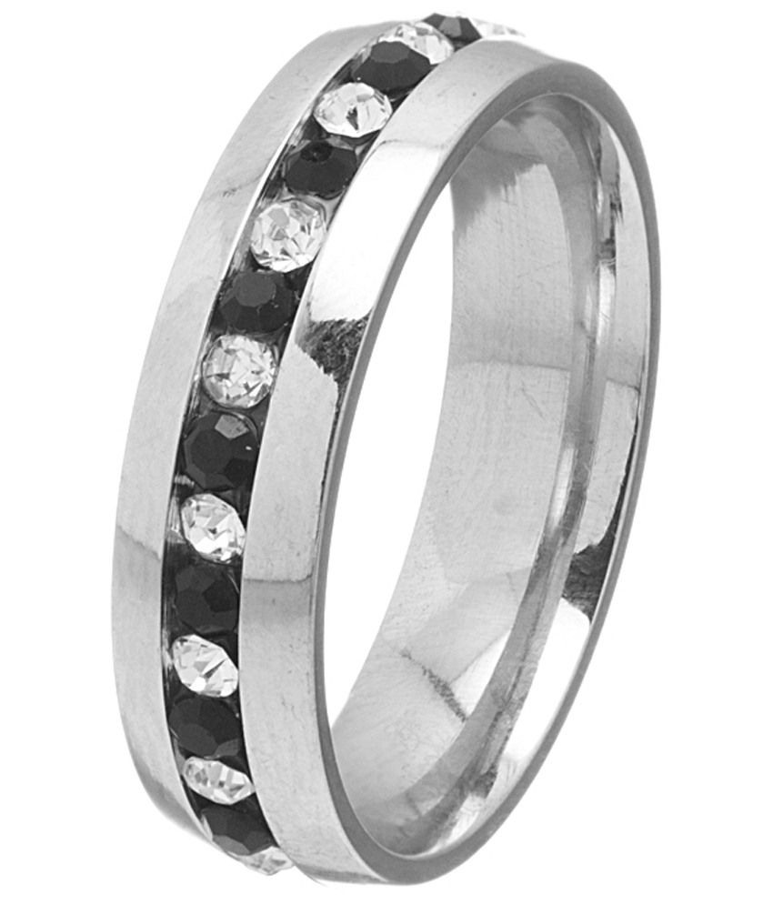 Voylla Stylish Silver & Black Band Ring For Men