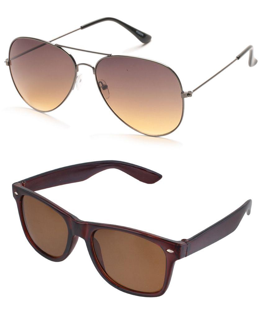 Tryzion Brown Aviator & Brown Wayfarer Sunglasses Combo