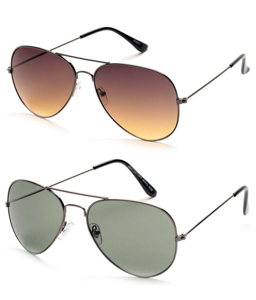 Tryzion Brown & Grey Aviator Sunglasses Combo