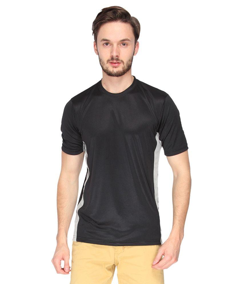 Campus Sutra Black Dry Fit Half Sleeve Tshirt