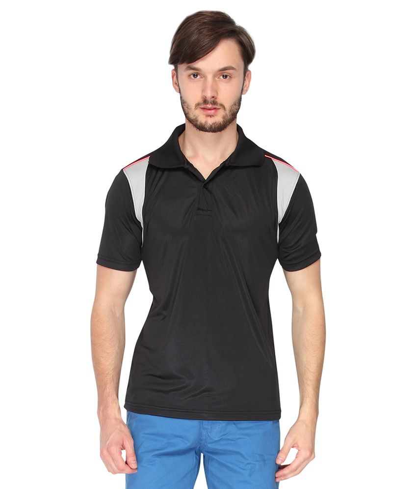 Campus Sutra Black Dry Fit Half Sleeve Tshirt
