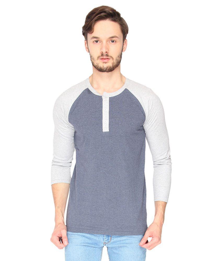 Campus Sutra Blue Melange Raglan Henley Full Sleeve Tshirt