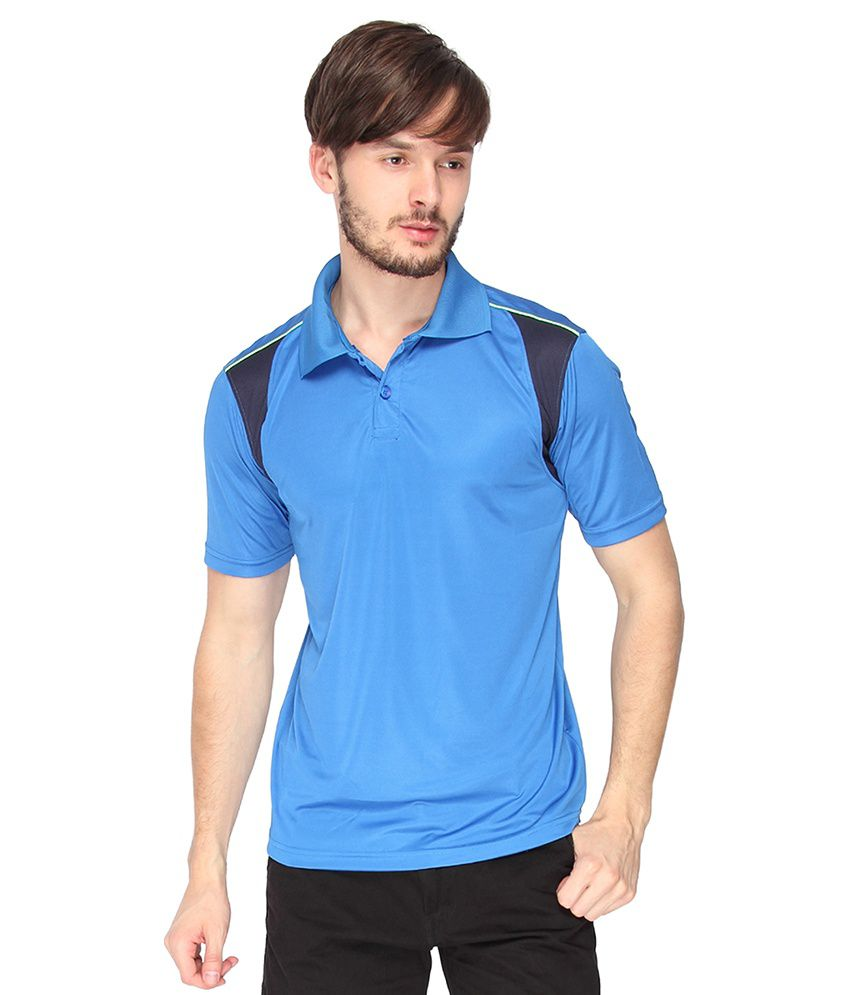 Campus Sutra Royal Blue Dry Fit Half Sleeve Tshirt