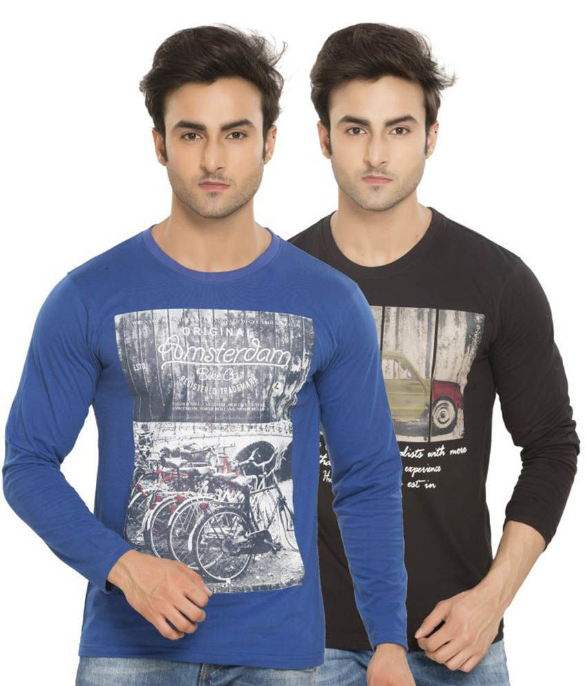 Alan Jones Printed Black Blue Full Cotton T-Shirt-Pack of 2