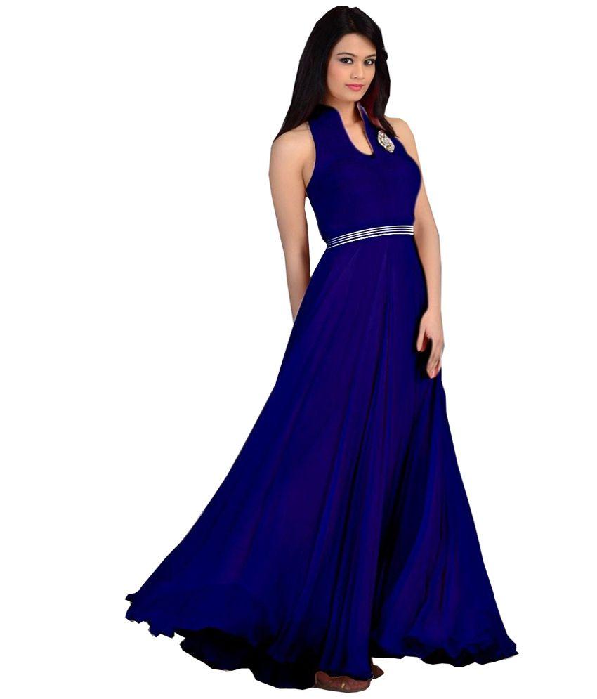 Angel Fashion Black Designer Georgette Long Partywear Gown Dress ...