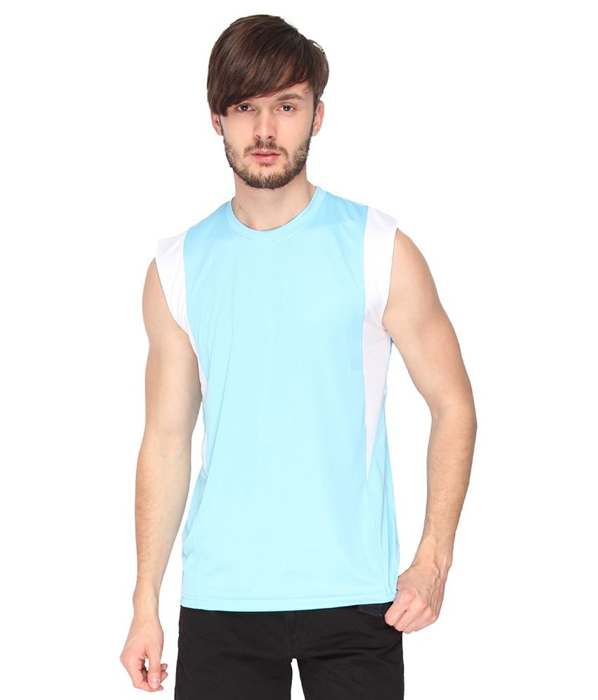 Campus Sutra Sea Green Dry Fit Sleeveless Tshirt