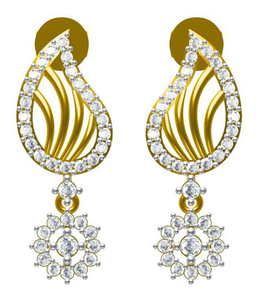 Sakshi Jewels Circle of Life 18kt Gold Diamond Dagling Earrings