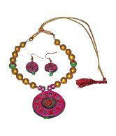 Auromithra Terracotta Jewellery Multicolor Traditional Necklace Set