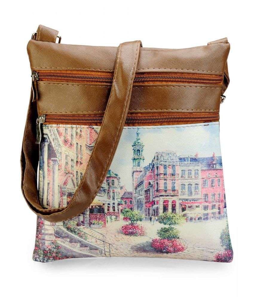 Original   Sling Bags  Stylocus Women Casual Tan Genuine Leather Sling Bag