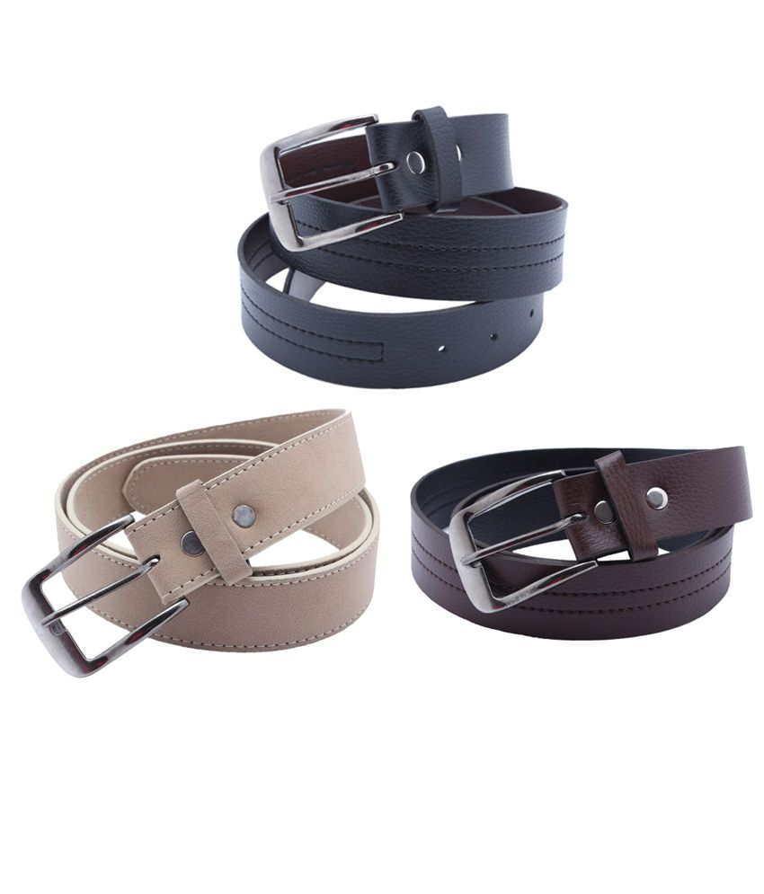 Divya Fashion Multi Leather Men's Belt - Set of 3 Pcs