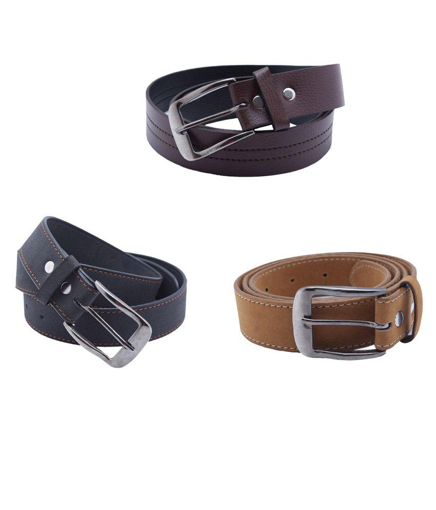 Divya Fashion Multi Leather Men's Belt - Set of 3 Pcs