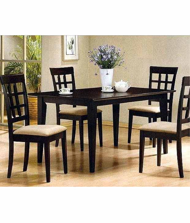 Best Price On Furniture: Dream Furniture Black Teak Wood 4 Seater Luxury Dining