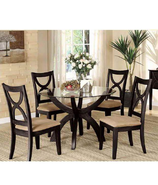 dream furniture round teak wood 4 seater luxury dining table set brown