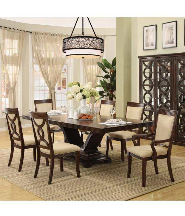 teak wood 6 seater dining table set in black rh snapdeal com