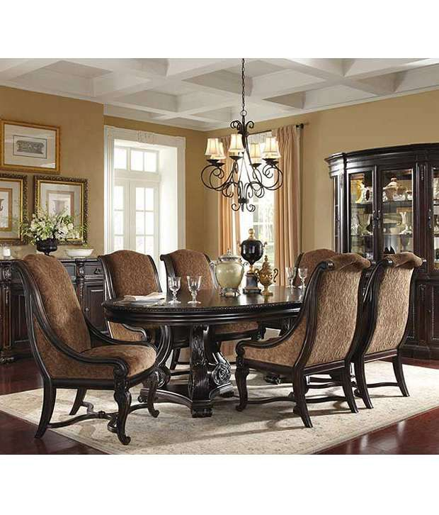 Dream Furniture Teak Wood 6 Seater Luxury Dining Table Set Brown Buy Dream Furniture Teak Wood 6 Seater Luxury Dining Table Set Brown Online At Best Prices In India On Snapdeal