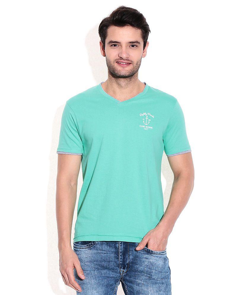 Flying Machine Green Cotton V-Neck T-Shirt