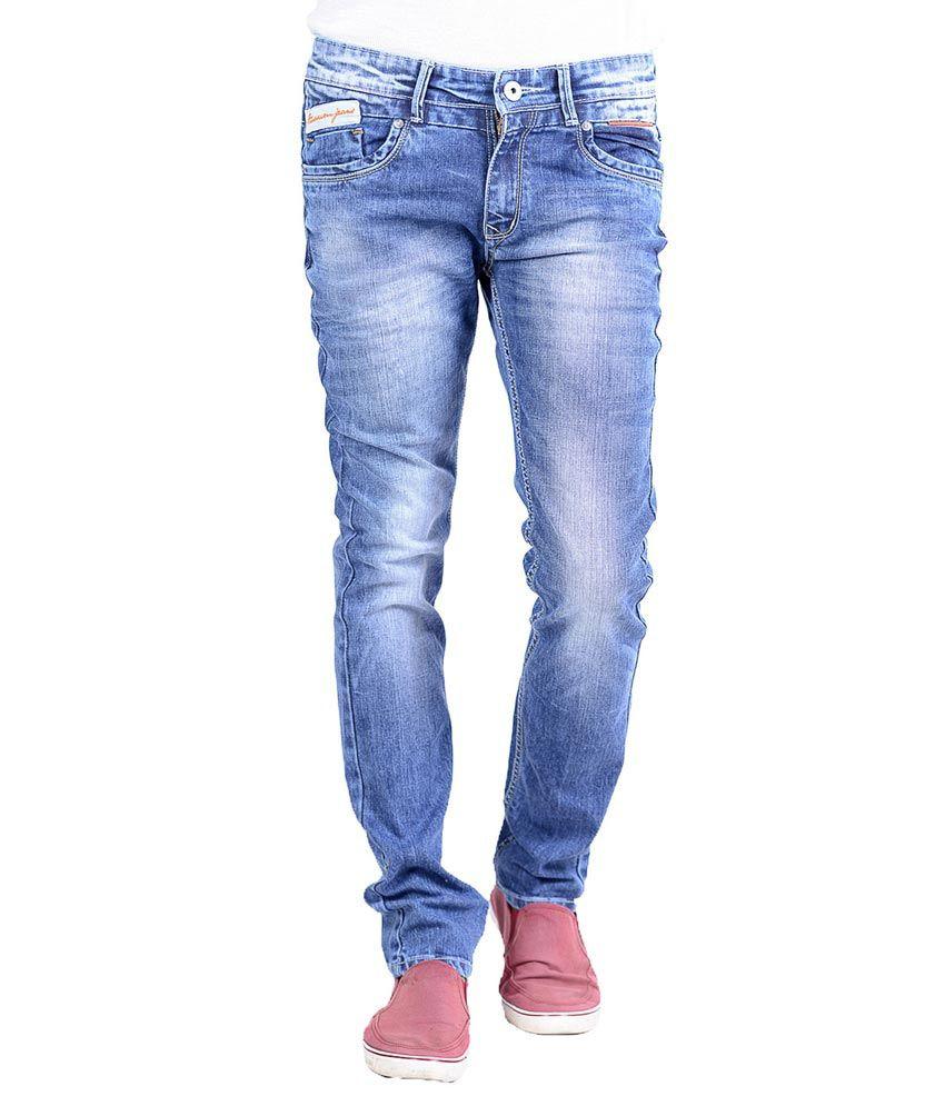 Aussum Blue Cotton Slim Faded Jeans