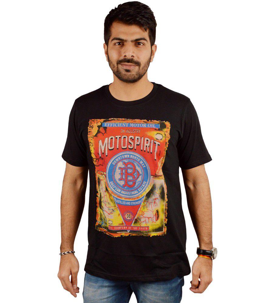 Miller & Schweizer Black Cotton Blend Printed Round Neck T-shirt
