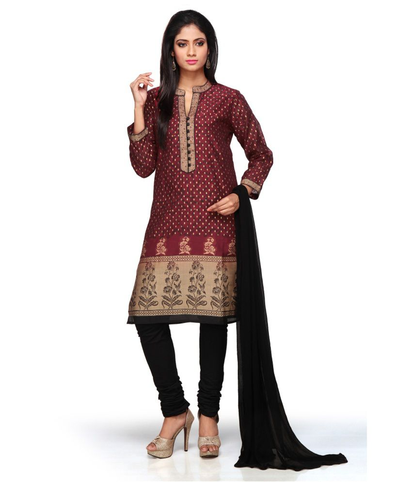 Missprint Maroon Printed Chanderi Straight Fit Salwar Suits