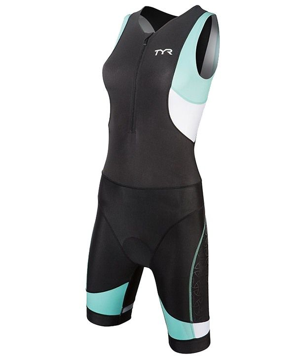 TYR Womens Competitor Tisuit W/ Back Zipper Black/Lt Blue 36702429016