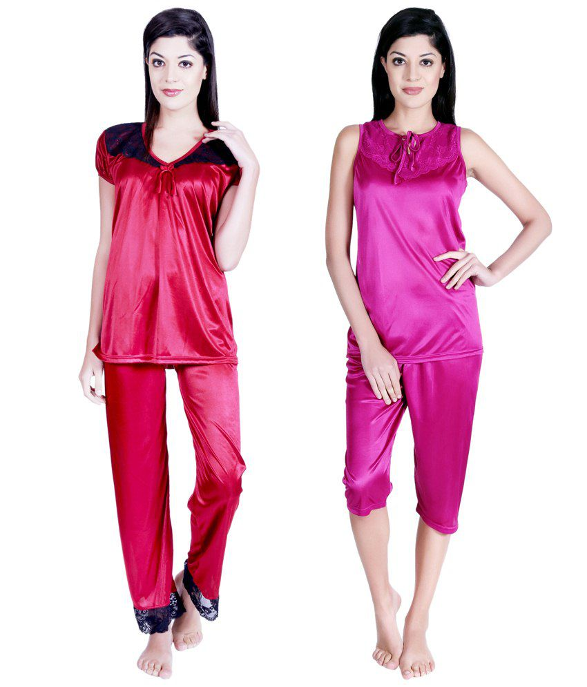 Buy Claura Pink Satin Nightsuit Sets Pack Of 4 Online At
