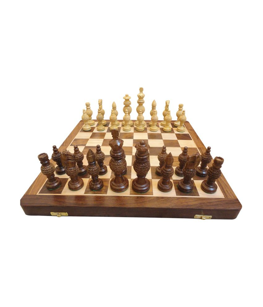 Craft Store India Wooden Board 16 Inchx16 Inch with 5 Inch Chess Set