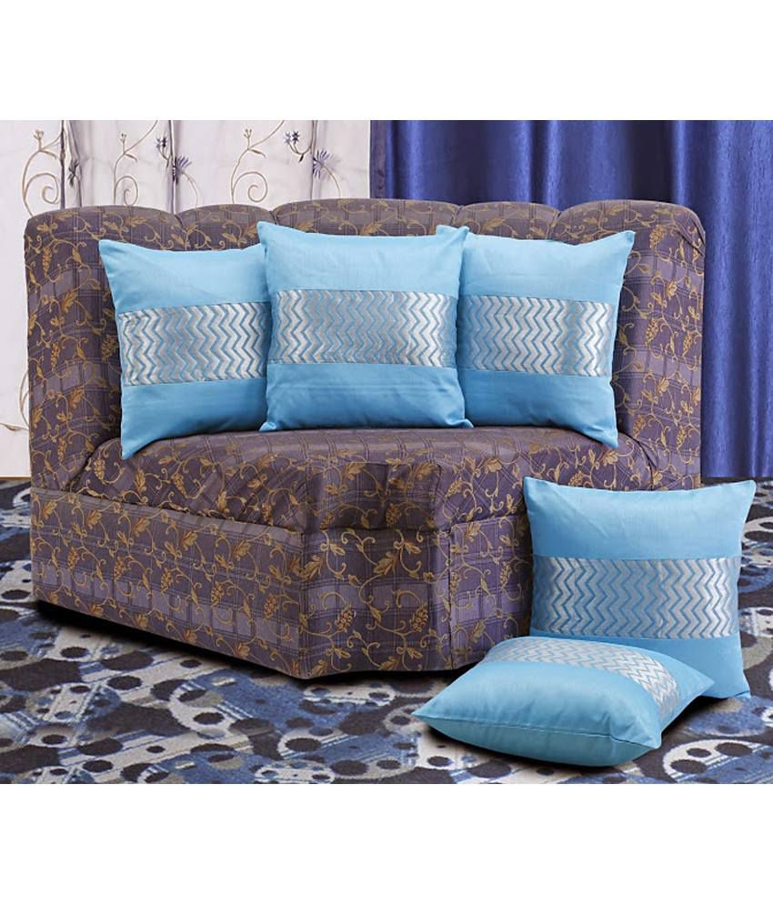 Dekor World Ethnic Lace Cushion Cover Blue (Pack of 5)