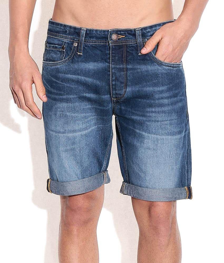 Jack & Jones Blue Cotton Shorts
