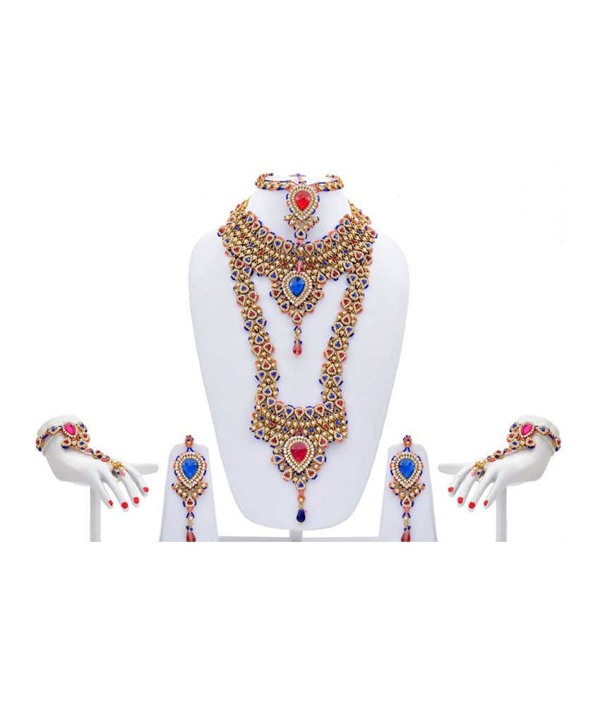 Lucky Jewellery Multicolour Bridal Necklace Set
