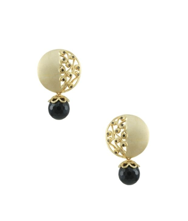 Orniza Matt Gold finish earrings with Black Drop