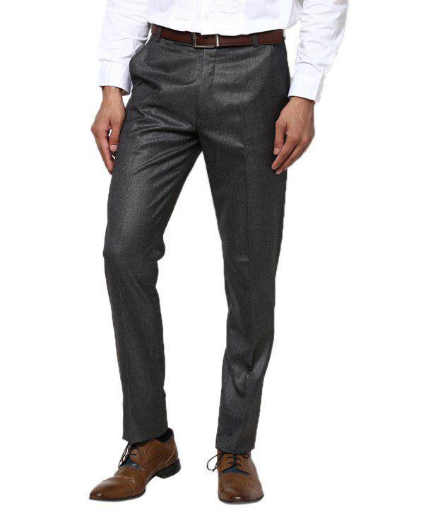 Zaab Gray Cotton Slim Fit Formals Flat Trouser