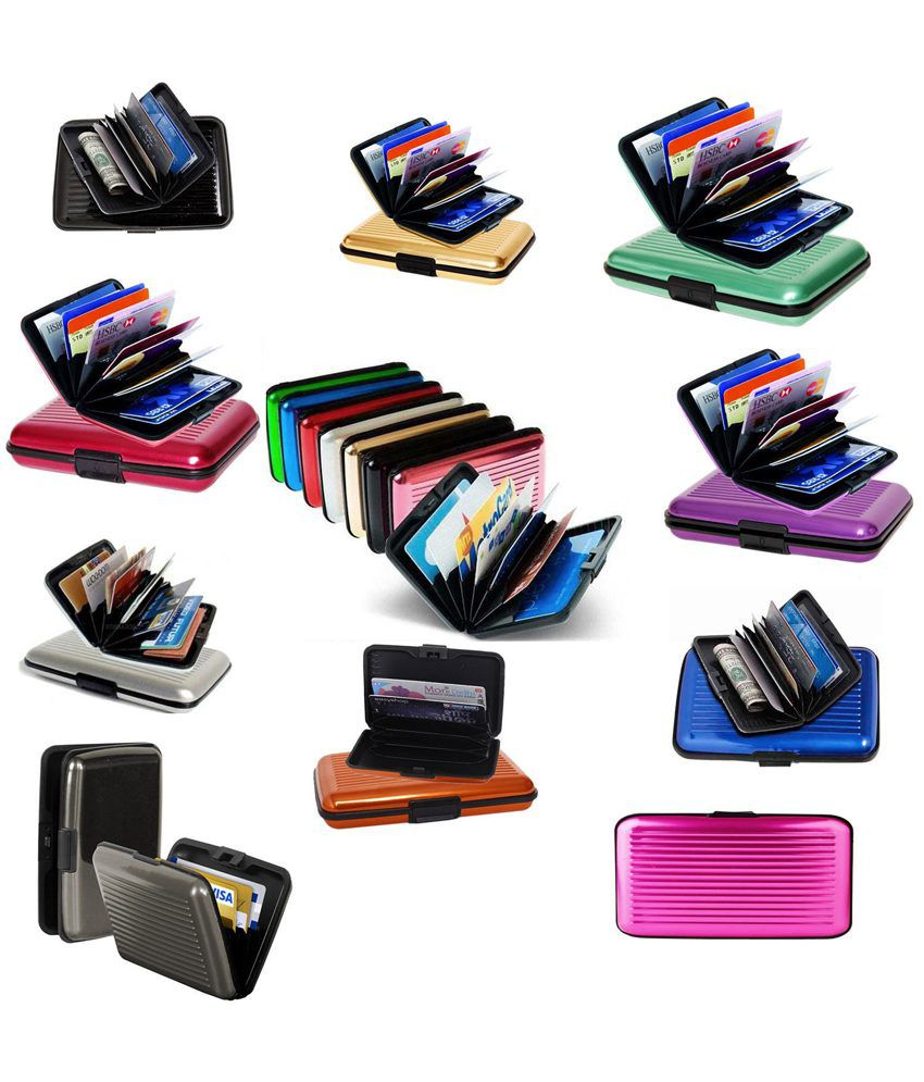 ClickAway Multi Color Aluminum Security Card Holder Pack Of 4