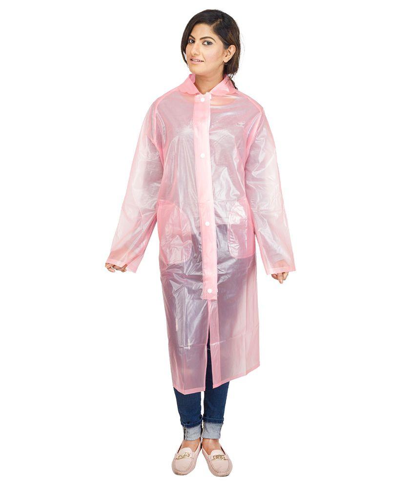 Versalis Pink Full Sleeves Long Raincoat For Women