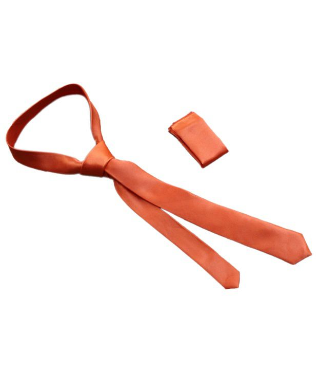 Winsome Deal Orange Casual Tie With Pocket Square