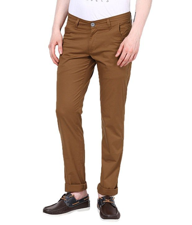 Zaab Gold Cotton Slim Fit Casual Chinos Trouser