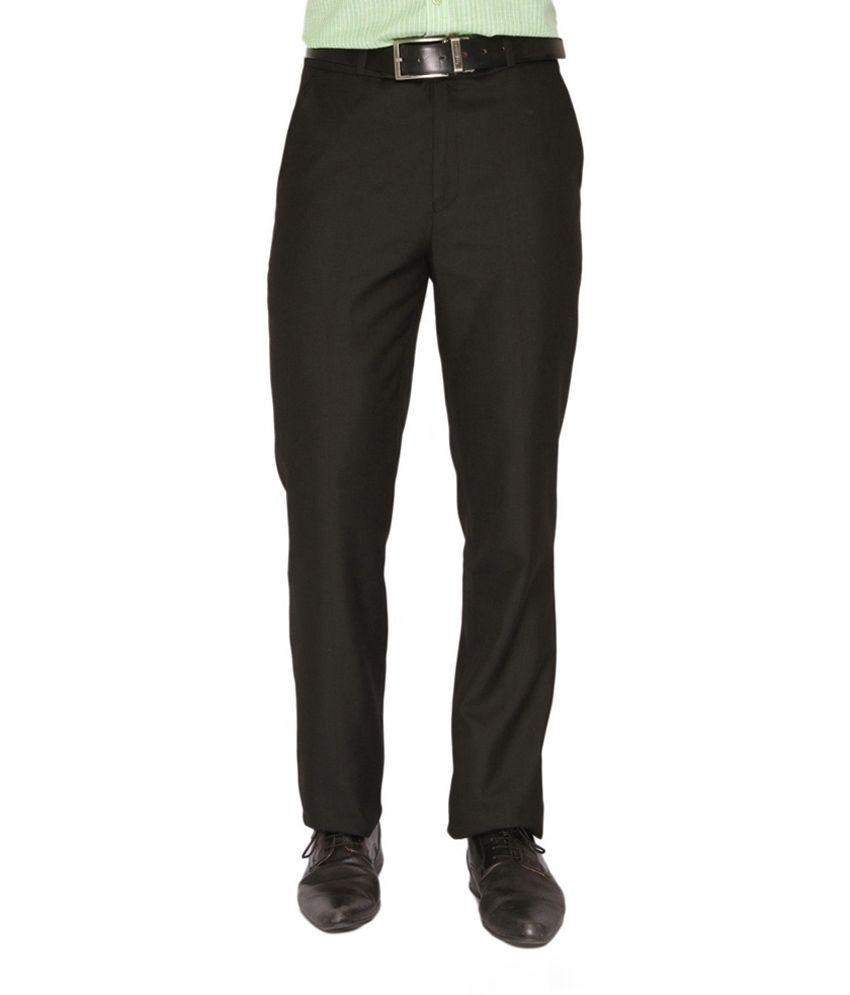 Clai Black Cotton Blend Slim Fit Formals for Men