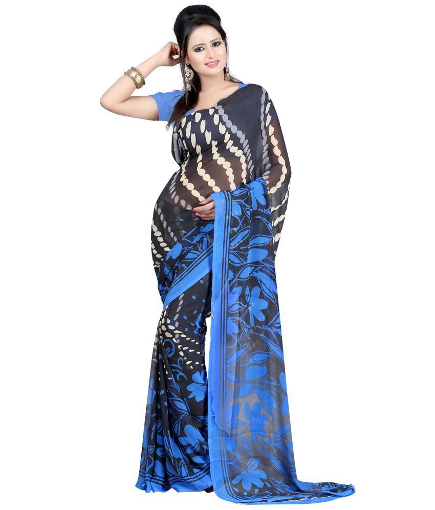 Indian House Blue Faux Georgette Saree